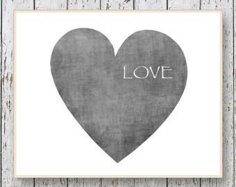 LOVE wall art decor - Living room art - bedroom wall decor -  Gray wall art - 8x10 or 11x14 - words Love - gift