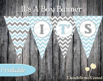 Baby Blue Gray Chevron It's A Boy Baby Shower DIY Digital Printable Banner