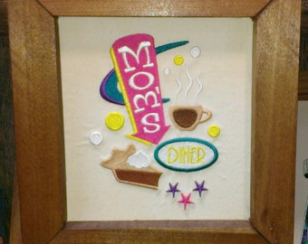 Retro-looking Mom's Diner embroidered wall hanging