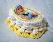 White w/ Yellow Trim Doll & Crochet Cradle Bassinet Bed Drawstring Purse Carry Along Convertible