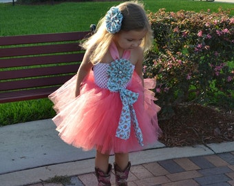 Coral Ballerina Tutu Dress - Contry Cutie Style for Birthdays, Pageants, Photos