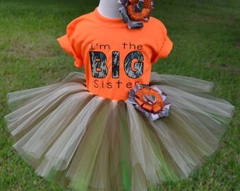 Big Sister Camo Tutu Skirt and Orange Printed Tee with Matching Hair Bow for Baby Showers Birthdays, Pageants, Photos