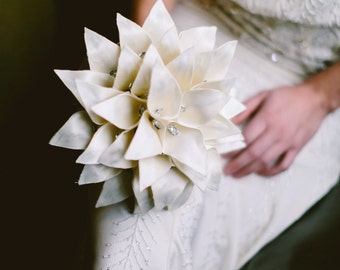 Handmade Ivory Satin Calla Lily Bridal Bouquet
