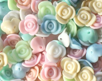 50 Pcs 16mm Assorted Pastel Rose Beads