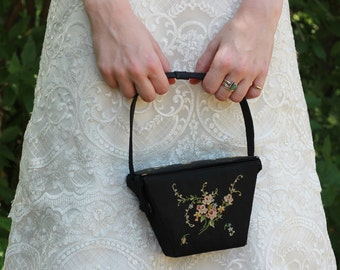 1920s Purse // Chinese Take-Out Purse // Embroidered Handbag // Flower Girl Purse