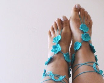 Turquoise Crochet Barefoot Sandals,Anklet,  Greek sandals, Wedding Beach Foot Gewelry, Handmade.