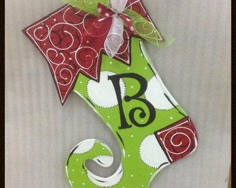 Stocking door hanger, christmas door hanger, christmas door decor, elf stocking door hanger,small business saturday, cyber monday