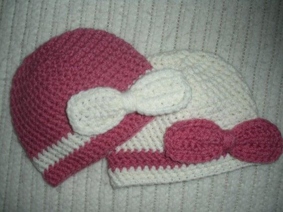 Crochet Hat Patterns For Twin Babies : Crochet twin girls hat set crochet baby hat by SweetLittleTots