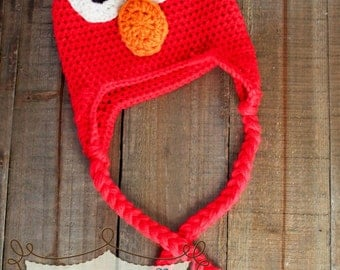 Elmo hat is made to order in sizes newborn to adult