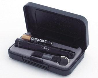Custom  Laser Engraved MAGLITE Solitaire AAA Gift Set - Black
