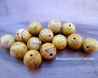 Yellow Earthy Gemstone Beads- 10mm