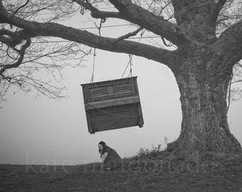 Try Not To Worry - Surreal Conceptual Fine Art Black White Dream Anxiety Worry Tree Piano Hang Photography Print
