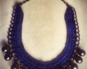 Statement crochet necklace with  blue thread and gray beads  .Statement necklace. Bib necklace.
