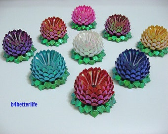 Lot of 9pcs Size Small Origami Lotus in 9 Different Colors. (TX Paper Series). #FLT-26.