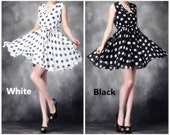 028.Late Summer Bouffant Silk One-piece Cheap Homecoming Girls' Prom Dresses with Polka Dots Decorated