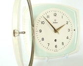 RESERVED * JUNGHANS German Wall Clock * Ceramic * mechanical * working * Kitchen * mint green / off-white * 40s 50s * Mid Century Modern