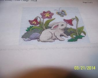 EasterBunnies Smelling Flowers -  Finger-tip Towel