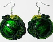 Rainforest - very light green earrings with acrylic and TOHO beads - free shipping check coupon code