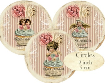 Patisserie Circles 2 inch Cupcales Instant Download digital collage sheet C227 Confiserie Cafe