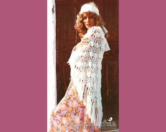 70s Hippie Chic Shawl - Vintage Crochet Pattern - INSTANT PDF DOWNLOAD - 200637