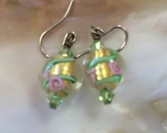 Green Lampwork Glass Earrings (ETYE13)