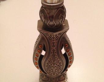 Metal Perfume Bottle With Orange Rhinestones & Clear Glass Stone