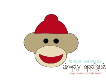 Popular items for sock monkey face on etsy for Sock monkey face template