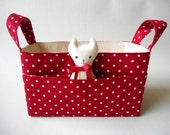 Fabric Basket Red Dots with Pockets and Cat Friend, Storage Soft Bin, Red Diaper Caddy, Bright Nursery Decor, Toy Box, Sewing Organiser
