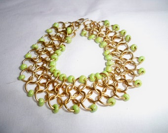 Gold Chainmaille Bracelet with Green Accent Beads