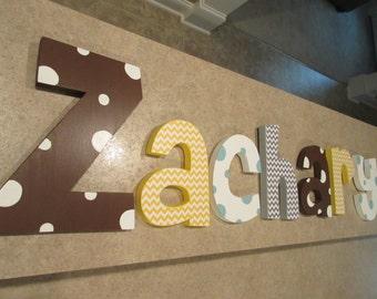 Hanging nursery letters, nursery letters, baby boyl nursery letters, nursery decor, nursery wall letters