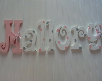 Nursery letters, Nursery wall hanging letters, Pink, White  & Gray nursery decor, nursery wall letters