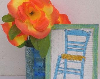 SIMPLY GREEK - Original Painting - Blue Taverna Chair