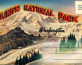 Vintage Linen Foldout Souvenir Postcard - Rainier National Park