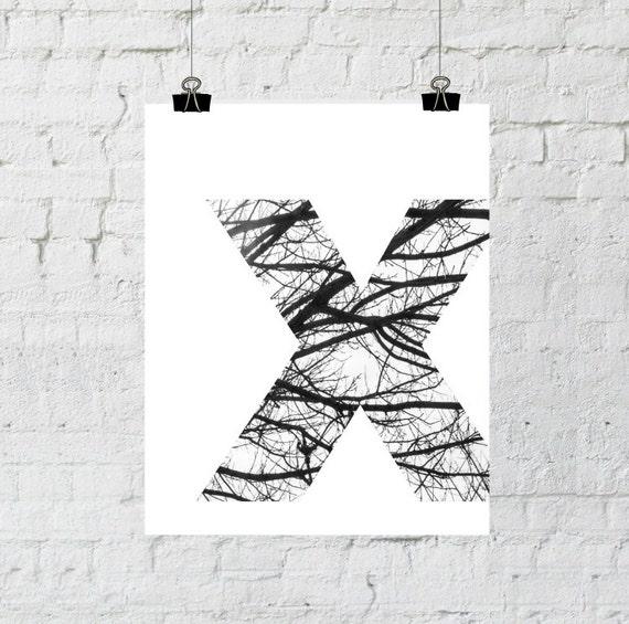 Scandinavian Art, Monogram Letters, Nordic Art, Minimalist, Black and White Prints, Tree Branch Art, Instant Download, Adoption Fundraiser