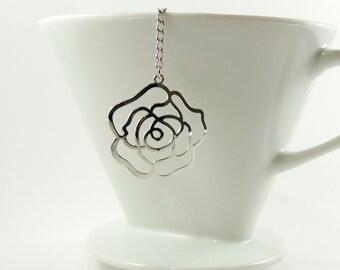 Rose Loose Tea Infuser Tea Strainer Silver Tone Rose Pendant