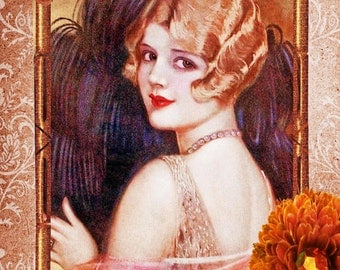 Vintage collage Flapper Girl.