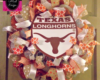 Texas Longhorns Wreath Longhorns Deco Mesh Wreath Longhorns Door Wreath Texas Wreath Colligate Wreath