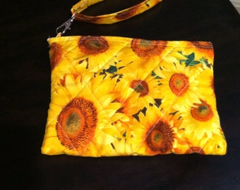 Sunflowers wristlet
