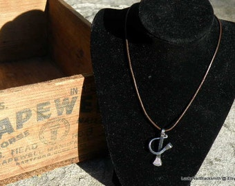 Horse Shoe and Nail Necklace on Brown leather cord