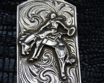 Bucking Horse Sterling Dog Tag