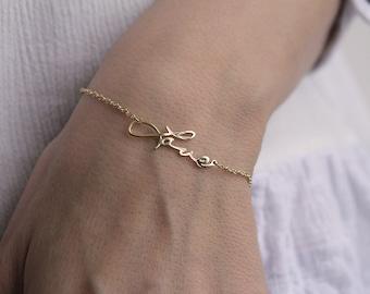 Memorial Bracelet, 14k Gold Love Bracelet, Signature Love Bracelet, Dainty Love Bracelet, Love Jewelry