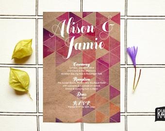 Geometric Invitation, Watercolor Invitation, Kraft Wedding - digital or printed, modern wedding, engagement invite, geometric, watercolour