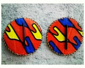 Large round unique african tribal print post earrings