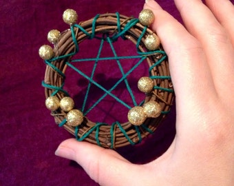 Pentagram Wreath Ornament  3in