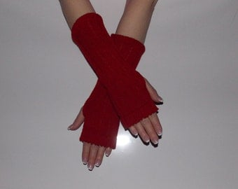 Women Knit Arm Warmers, Goth Fingerless Gloves, Knitted Mittens.