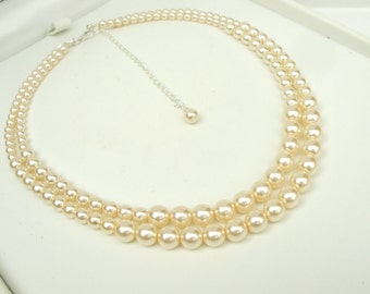 classic PEARL WEDDING necklace 2 strand pearl choker necklace white / cream pearl bridal necklace vintage pearl choker pearl wedding jewelry
