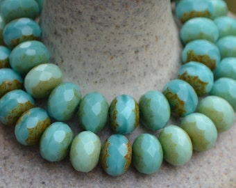 10 Turquoise Mix Czech Picasso Faceted Rondelle Beads 8x6mm- Aruba (682-10)