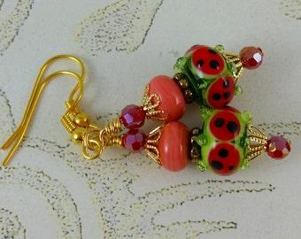 Watermelon Red Lampwork Glass Earrings