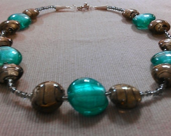 concord necklace: lampwork and glass beads