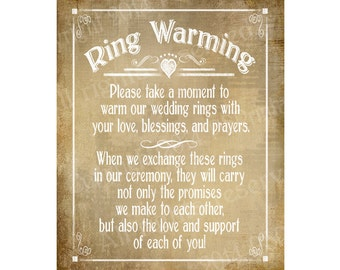 Ring Warming Printable Wedding sign - instant download digital file - Vintage Heart Collection